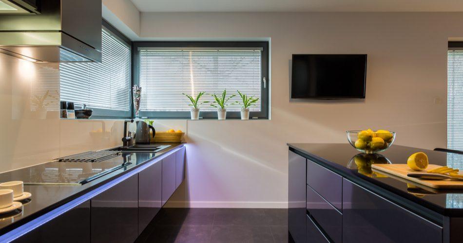 Dark painted kitchen