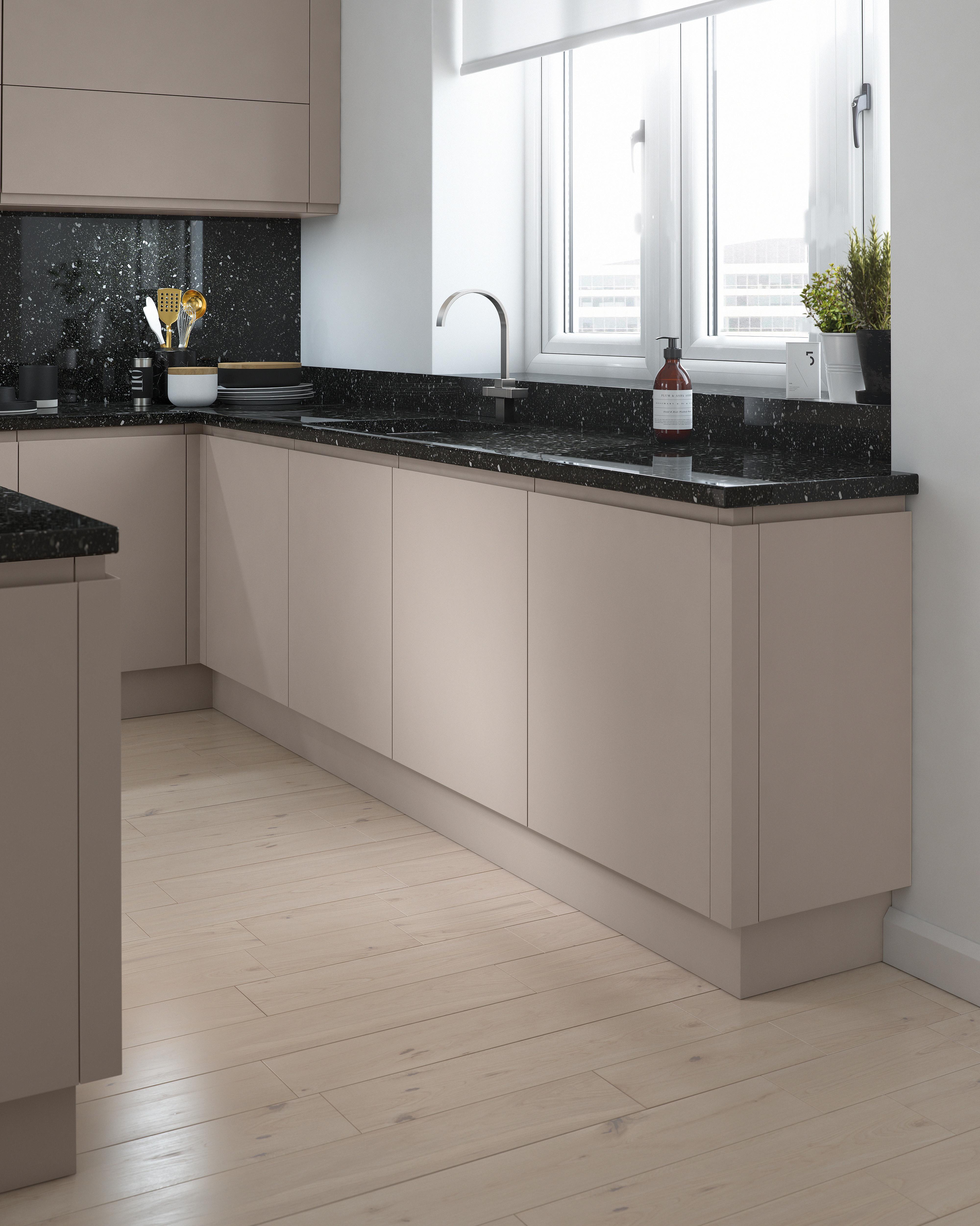 Kitchen Base Unit Cabinet Soft Close Handleless MATT Cashmere Grey