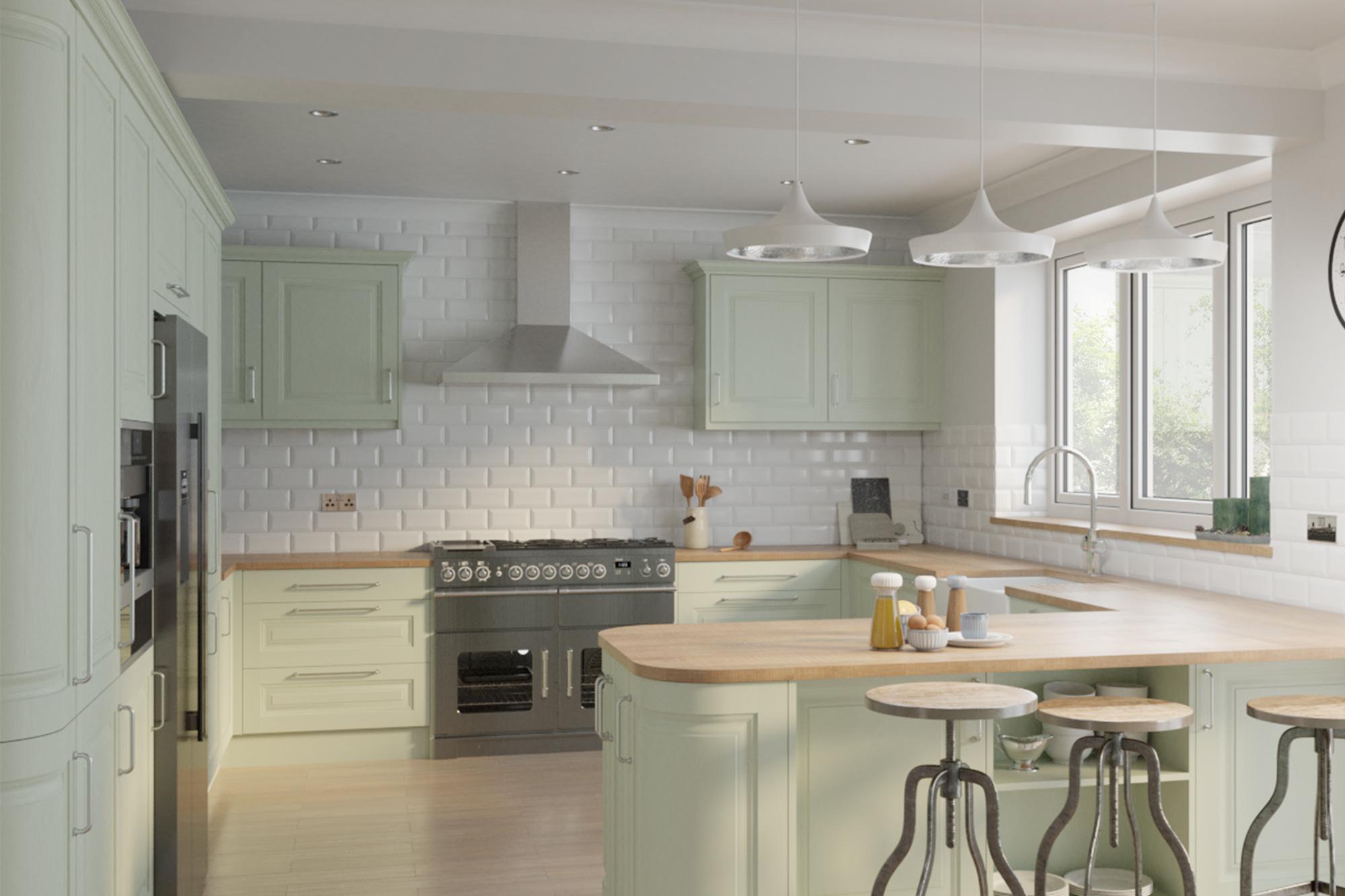 Jefferson Sage Green Cheap Kitchen Units And Cabinets