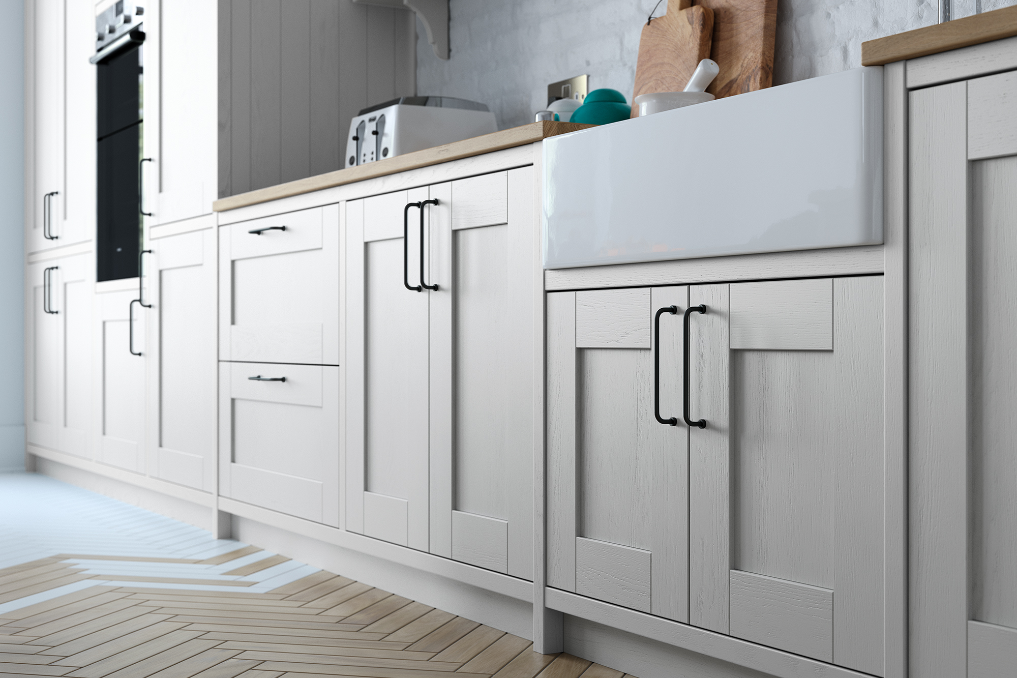 Madison Light Grey Painted Kitchen Doors  Cheap Kitchen Units and ...