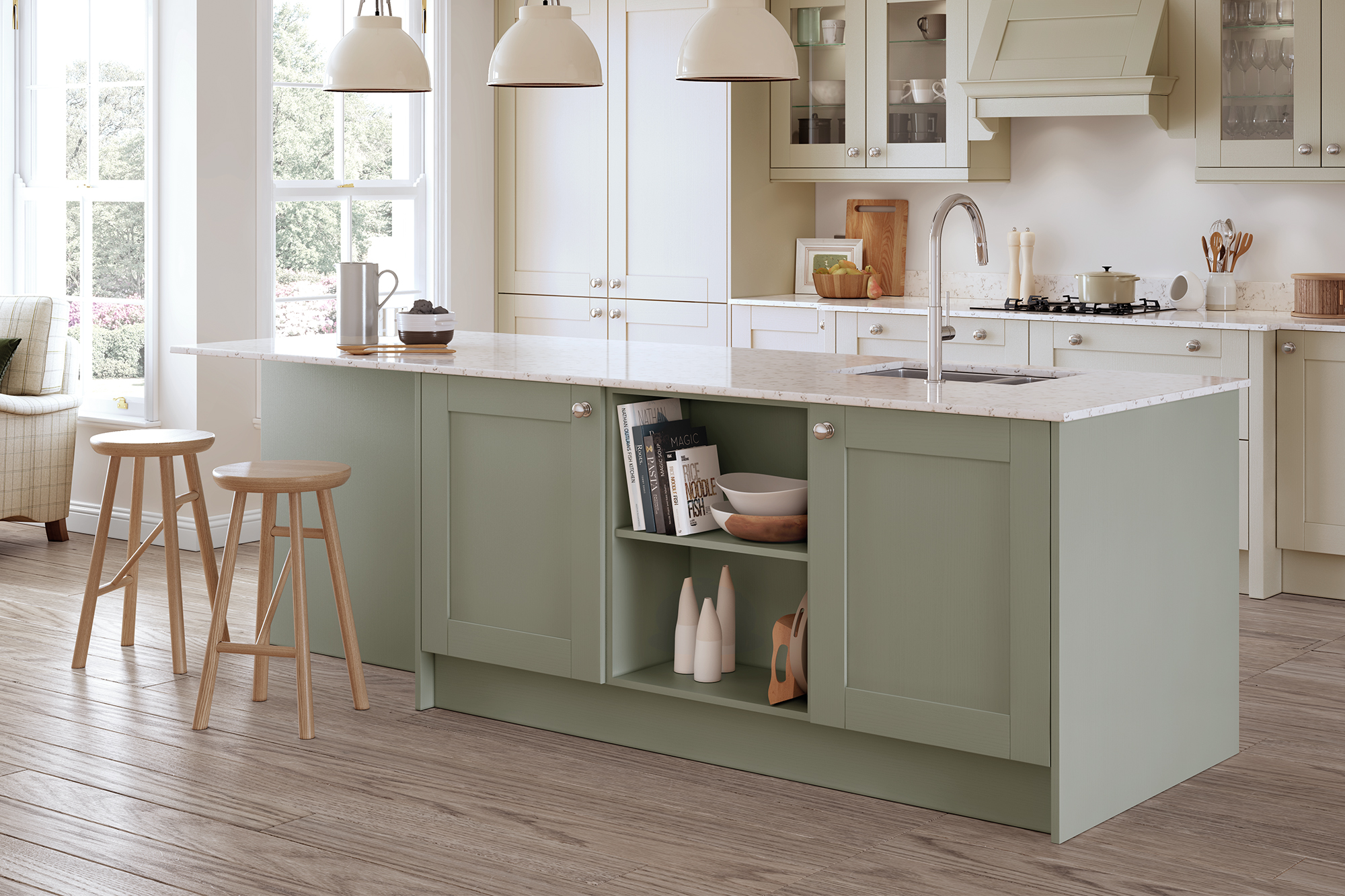 Madison Sage Green Painted Kitchen Doors Cheap Kitchen Units And Cabinets For Sale Online Kitchen Warehouse