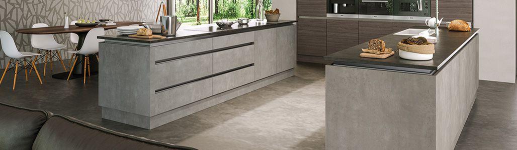 Matt Textured Light Concrete Kitchen, Cement Grey Kitchen Cabinets