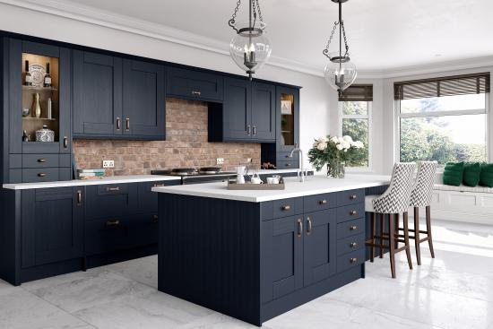 Midnight Blue Kitchen Units And, Magnet Replacement Kitchen Cabinet Doors